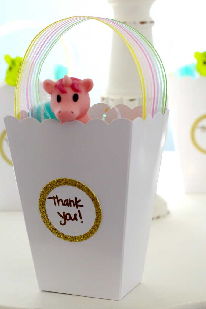 Favor Box From A Pastel Iridescent Unicorn 2nd Bday Party On KarasPartyIdeas 12