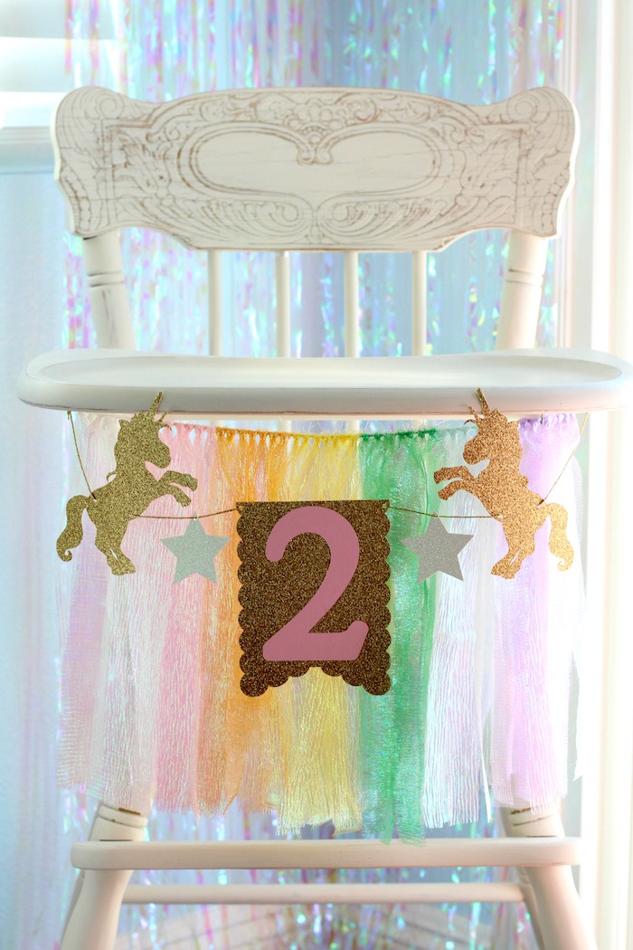 High chair and banner from a Pastel Iridescent Unicorn 2nd Bday Party on KarasPartyIdeas.com (10)