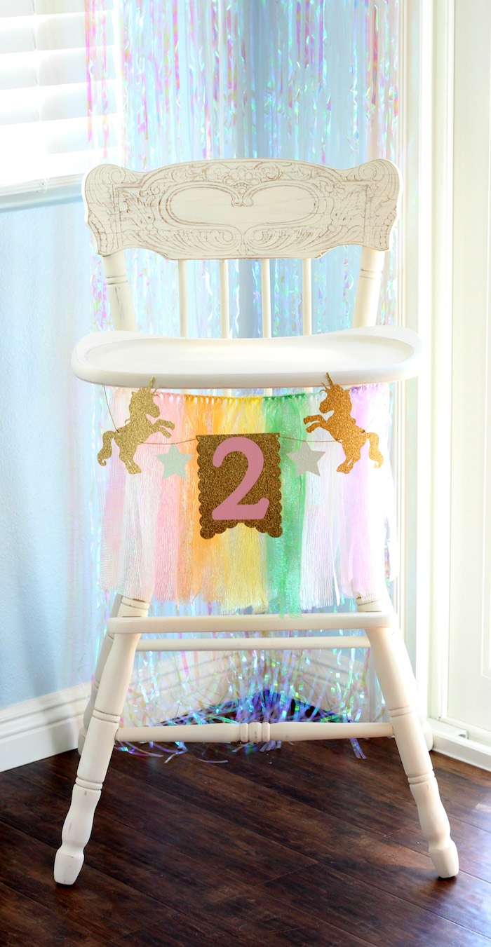 Unicorn high chair banner from a Pastel Iridescent Unicorn 2nd Bday Party on KarasPartyIdeas.com (9)