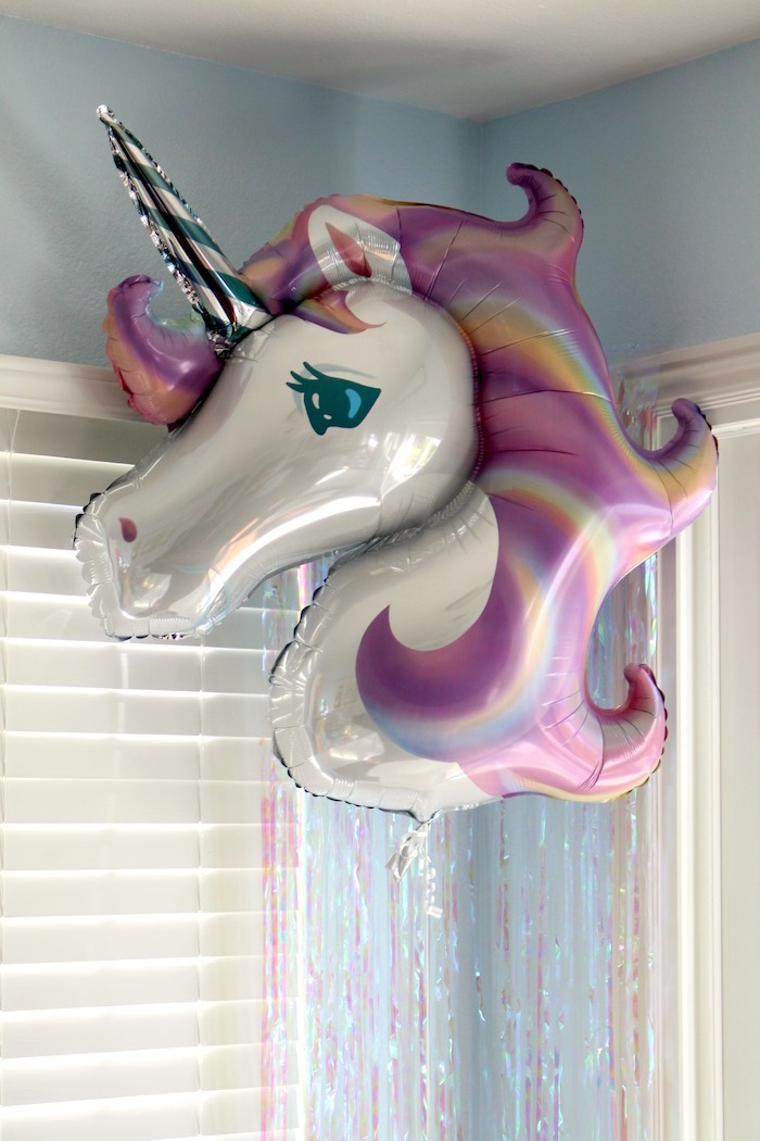 Mylar unicorn balloon from a Pastel Iridescent Unicorn 2nd Bday Party on KarasPartyIdeas.com (8)
