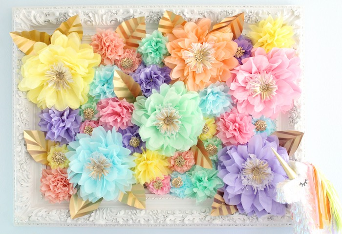 Beautiful paper flower backdrop from a Pastel Iridescent Unicorn 2nd Bday Party on KarasPartyIdeas.com (7)