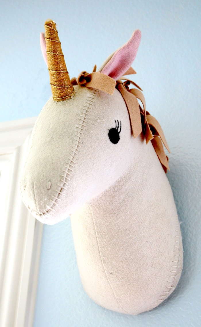 Plush unicorn head wall hanging from a Pastel Iridescent Unicorn 2nd Bday Party on KarasPartyIdeas.com (5)