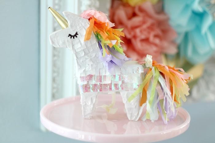 Mini iridescent unicorn from a Pastel Iridescent Unicorn 2nd Bday Party on KarasPartyIdeas.com (4)
