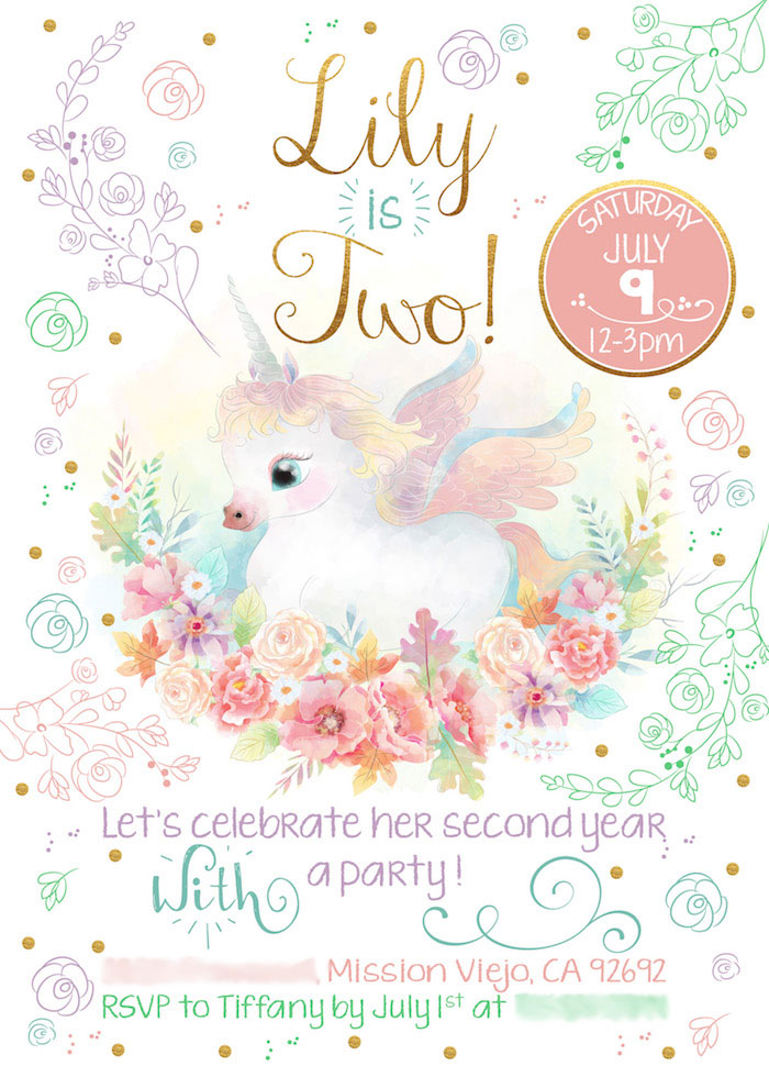 Unicorn Party Invitation from a Pastel Iridescent Unicorn 2nd Bday Party on KarasPartyIdeas.com (3)