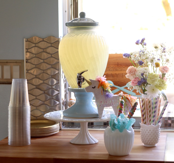 Beverage table from a Pastel Iridescent Unicorn 2nd Bday Party on KarasPartyIdeas.com (39)