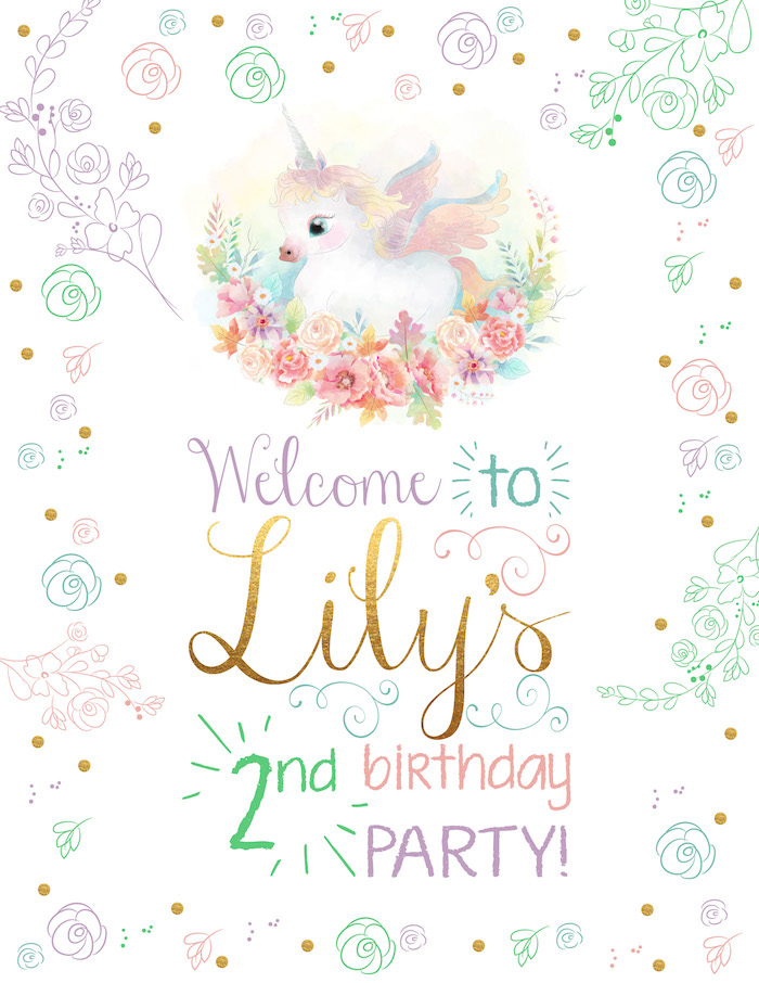 Welcome sign from a Pastel Iridescent Unicorn 2nd Bday Party on KarasPartyIdeas.com (2)