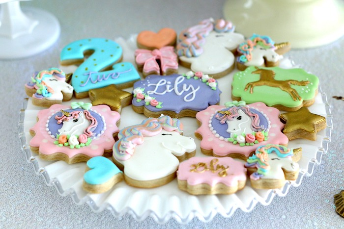 Cookie Plate From A Pastel Iridescent Unicorn 2nd Bday Party On KarasPartyIdeas 37