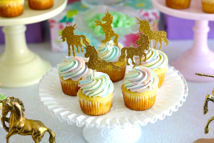 Unicorn cupcakes from a Pastel Iridescent Unicorn 2nd Bday Party on KarasPartyIdeas.com (36)