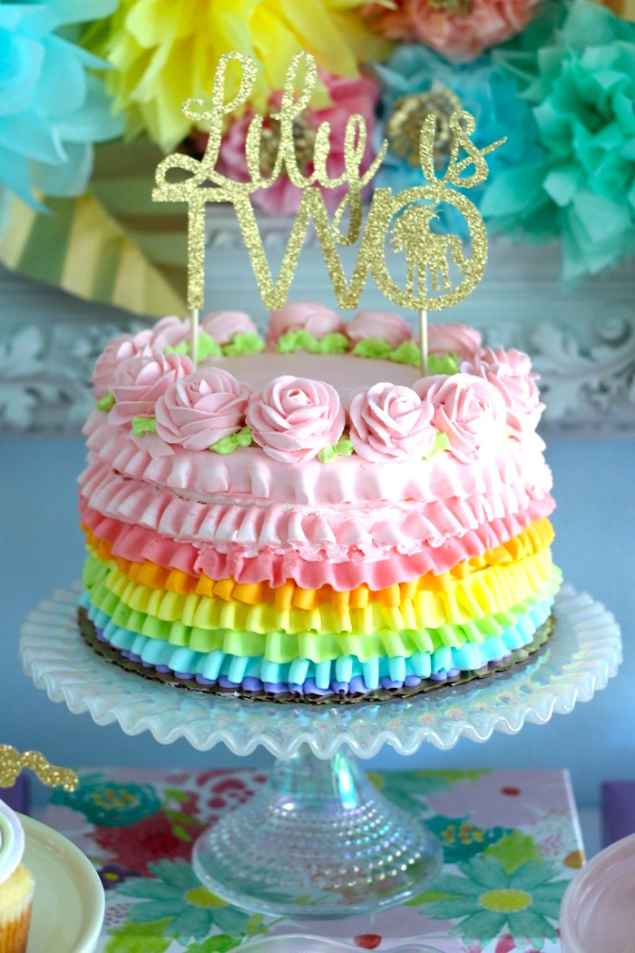 Colorful ruffle cake from a Pastel Iridescent Unicorn 2nd Bday Party on KarasPartyIdeas.com (34)