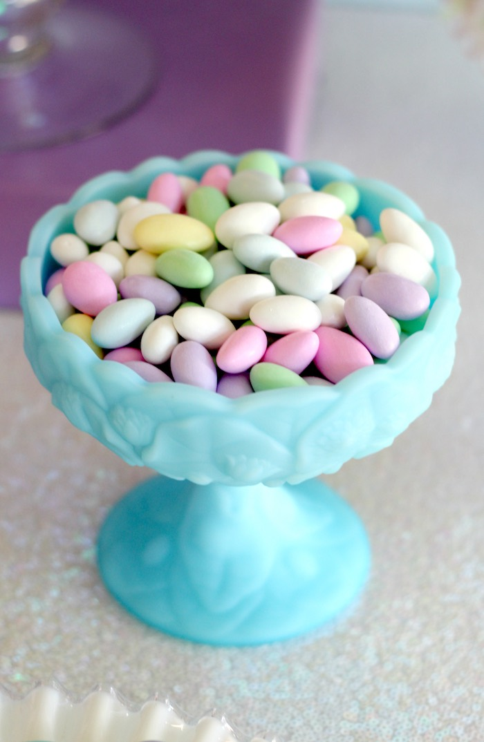 Pastel candy dish from a Pastel Iridescent Unicorn 2nd Bday Party on KarasPartyIdeas.com (33)