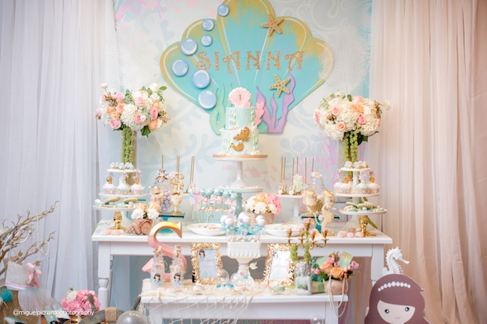 Dessert Table From A Pastel Mermaid Birthday Party Via Karas Ideas