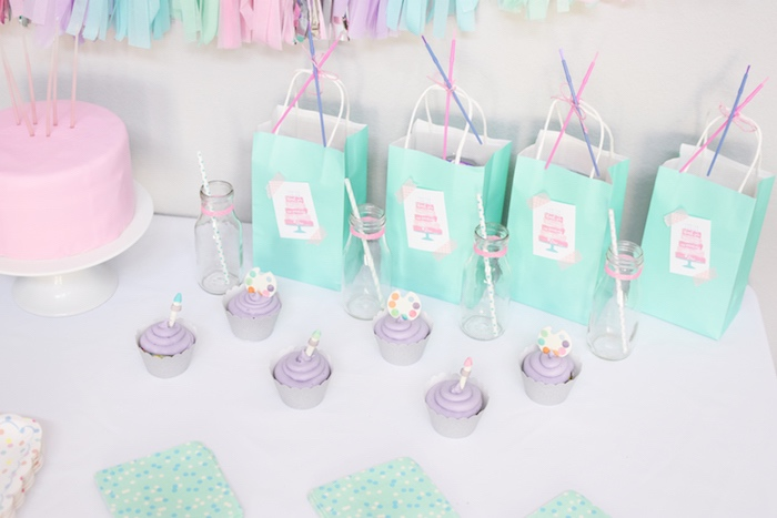 Cupcakes & favor sacks from a Pastel Painting + Art Themed Birthday Party via Kara's Party Ideas KarasPartyIdeas.com (18)