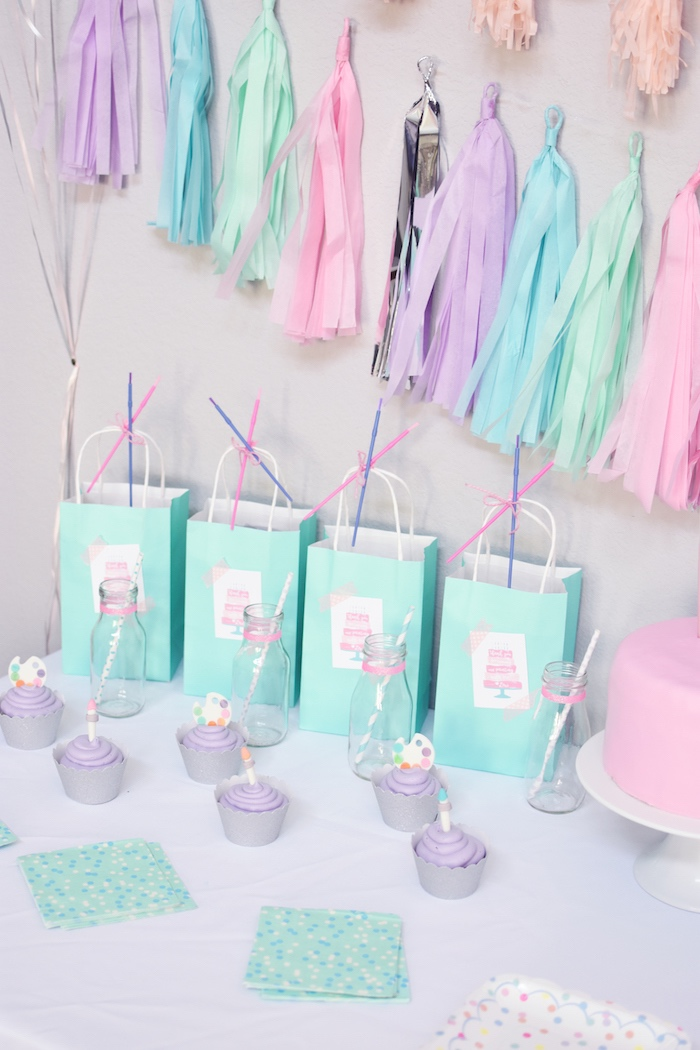 Cupcakes & favor sacks from a Pastel Painting + Art Themed Birthday Party via Kara's Party Ideas KarasPartyIdeas.com (17)