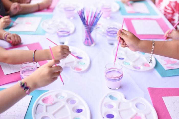 Painting activity form a Pastel Painting + Art Themed Birthday Party via Kara's Party Ideas KarasPartyIdeas.com (12)