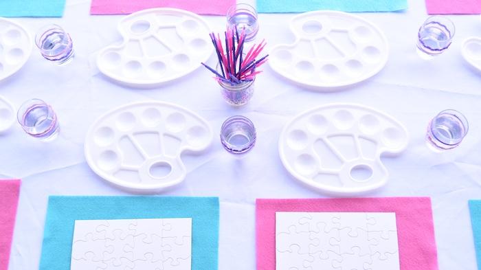 Paint table from a Pastel Painting + Art Themed Birthday Party via Kara's Party Ideas KarasPartyIdeas.com (28)