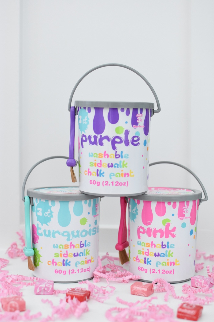 Chalk favor paint cans from a Pastel Painting + Art Themed Birthday Party via Kara's Party Ideas KarasPartyIdeas.com (6)