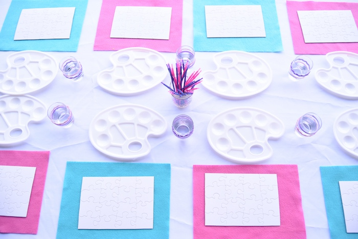 Painting table from a Pastel Painting + Art Themed Birthday Party via Kara's Party Ideas KarasPartyIdeas.com (27)