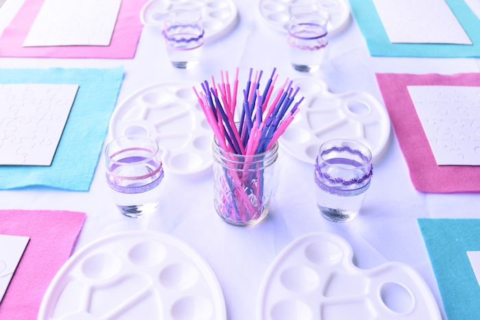 Paint palettes and brushes from a Pastel Painting + Art Themed Birthday Party via Kara's Party Ideas KarasPartyIdeas.com (24)