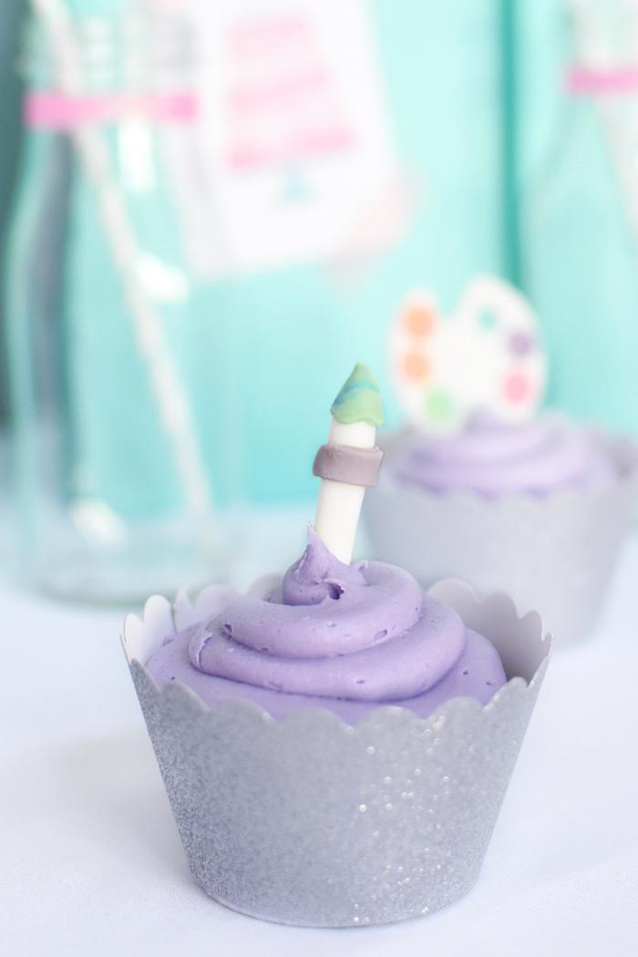 Cupcake from a Pastel Painting + Art Themed Birthday Party via Kara's Party Ideas KarasPartyIdeas.com (21)