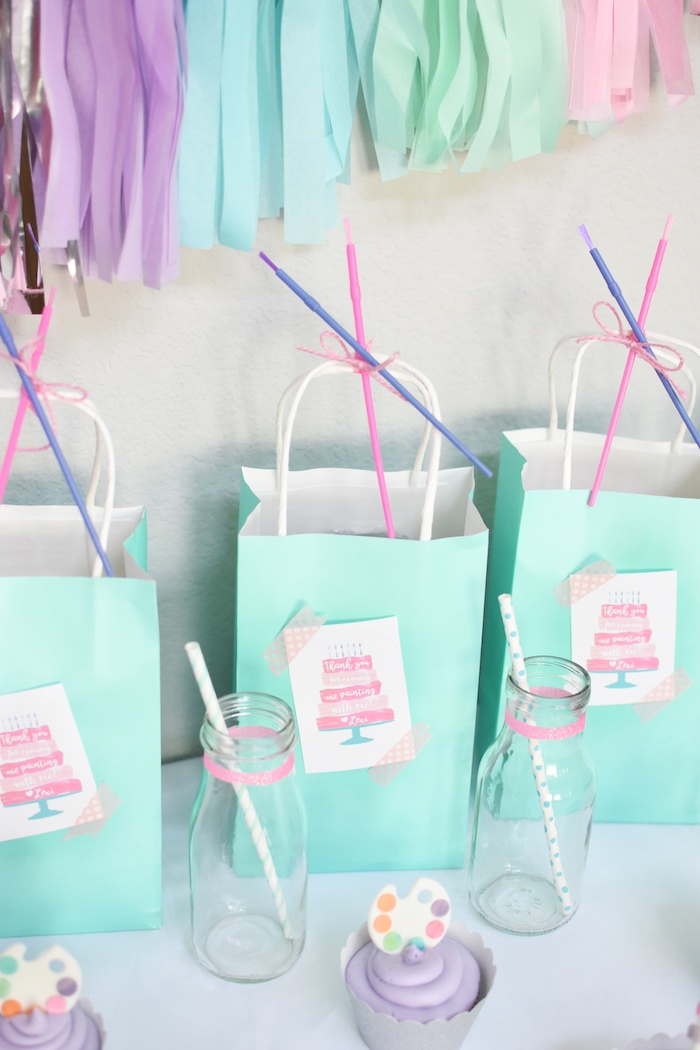 Mint favor sacks from a Pastel Painting + Art Themed Birthday Party via Kara's Party Ideas KarasPartyIdeas.com (20)