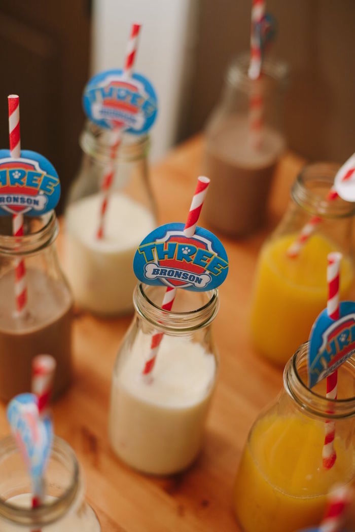 Drinks from a Paw Patrol Themed Birthday Party via Kara's Party Ideas KarasPartyIdeas.com (18)