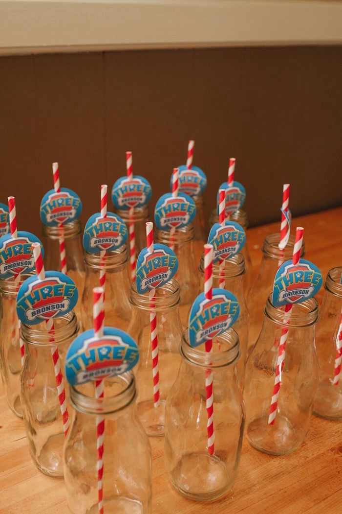 Glass milk bottles from a Paw Patrol Themed Birthday Party via Kara's Party Ideas KarasPartyIdeas.com (17)
