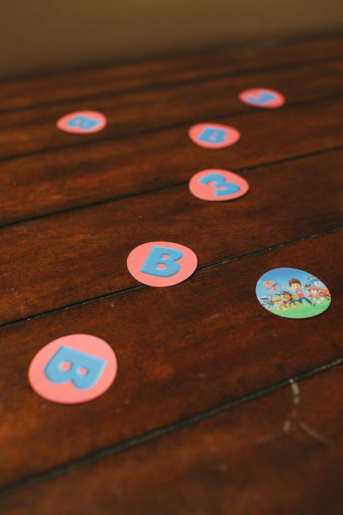Paw Patrol circle confetti from a Paw Patrol Themed Birthday Party via Kara's Party Ideas KarasPartyIdeas.com (35)