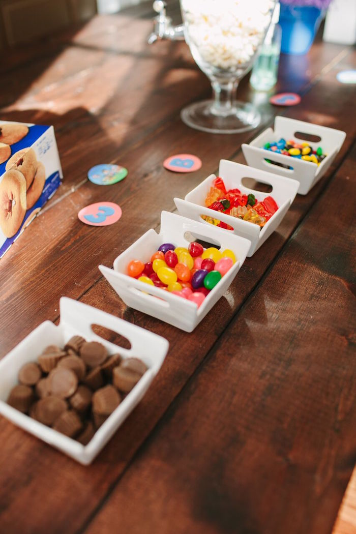 Dishes of candy from a Paw Patrol Themed Birthday Party via Kara's Party Ideas KarasPartyIdeas.com (30)