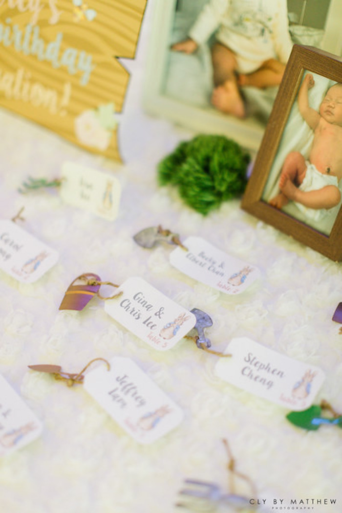 Seat cards from a Peter Rabbit Themed 1st Birthday Party on Kara's Party Ideas | KarasPartyIdeas.com (2)