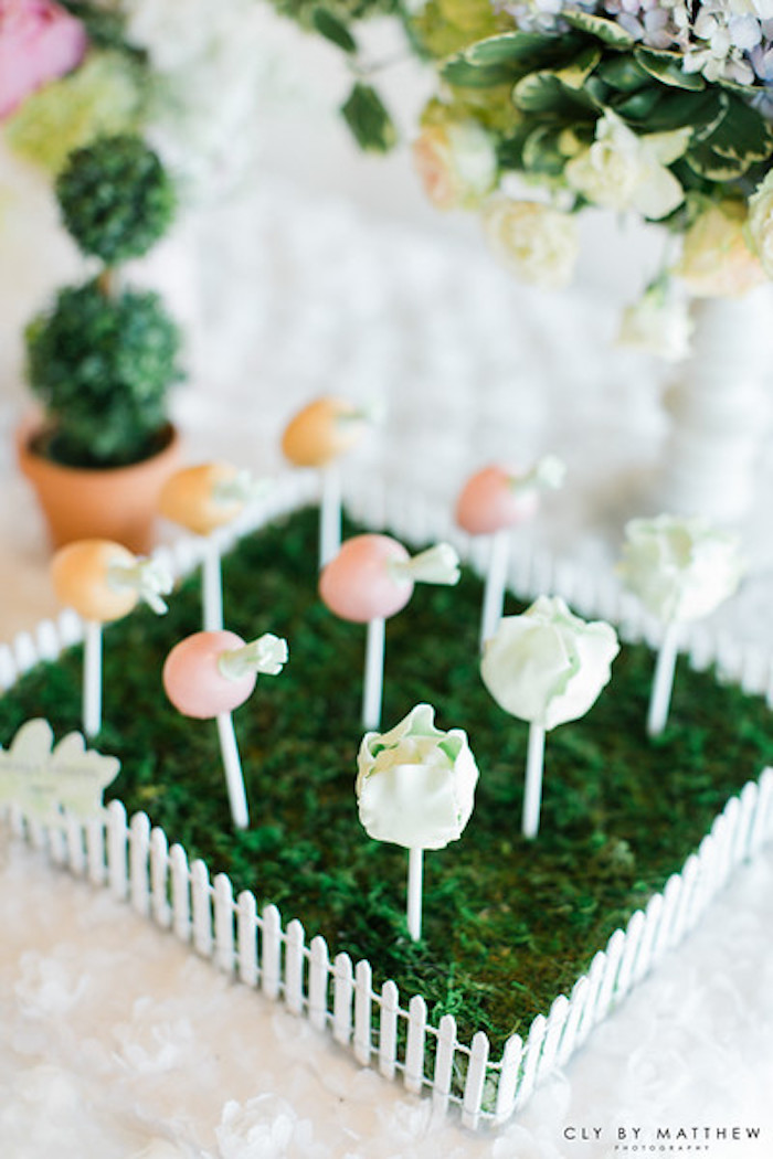 Garden cake pops from a Peter Rabbit Themed 1st Birthday Party on Kara's Party Ideas | KarasPartyIdeas.com (7)