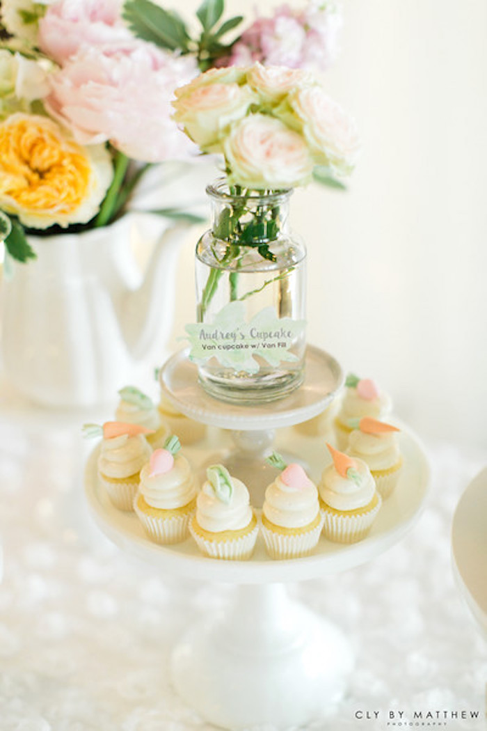Mini cupcakes and white roses from a Peter Rabbit Themed 1st Birthday Party on Kara's Party Ideas | KarasPartyIdeas.com (6)