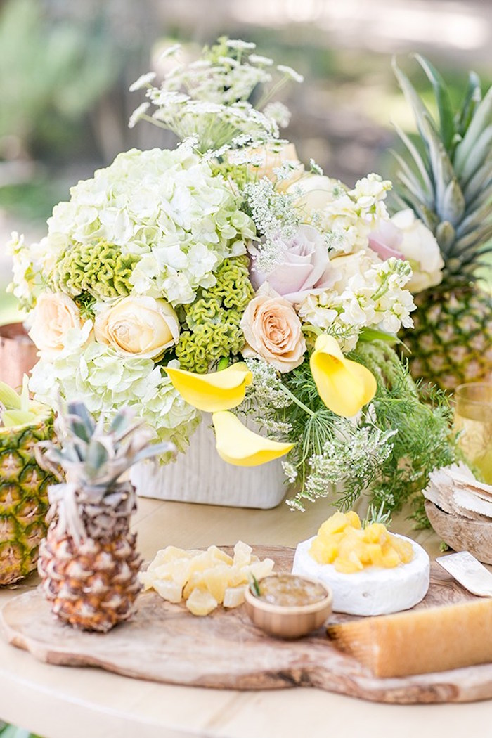 Pineapple cheese plate from a Pineapple Garden Party via Kara's Party Ideas | KarasPartyIdeas.com (13)
