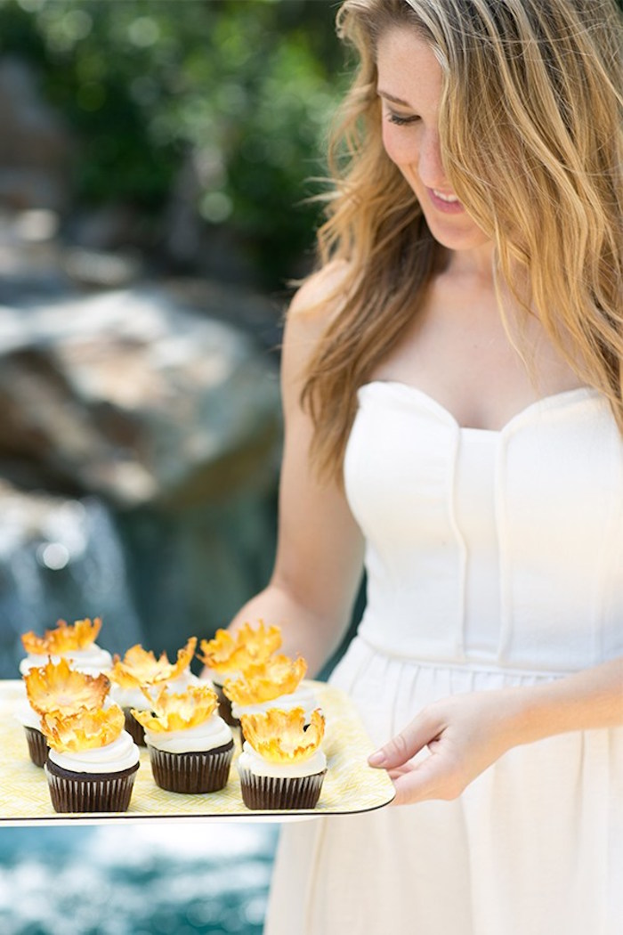 Chocolate cupcakes topped with pineapple flowers from a Pineapple Garden Party via Kara's Party Ideas | KarasPartyIdeas.com (12)