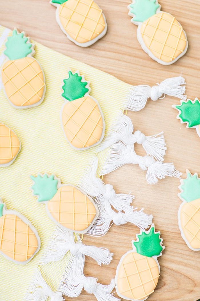 Pineapple sugar cookies from a Pineapple Garden Party via Kara's Party Ideas | KarasPartyIdeas.com (11)