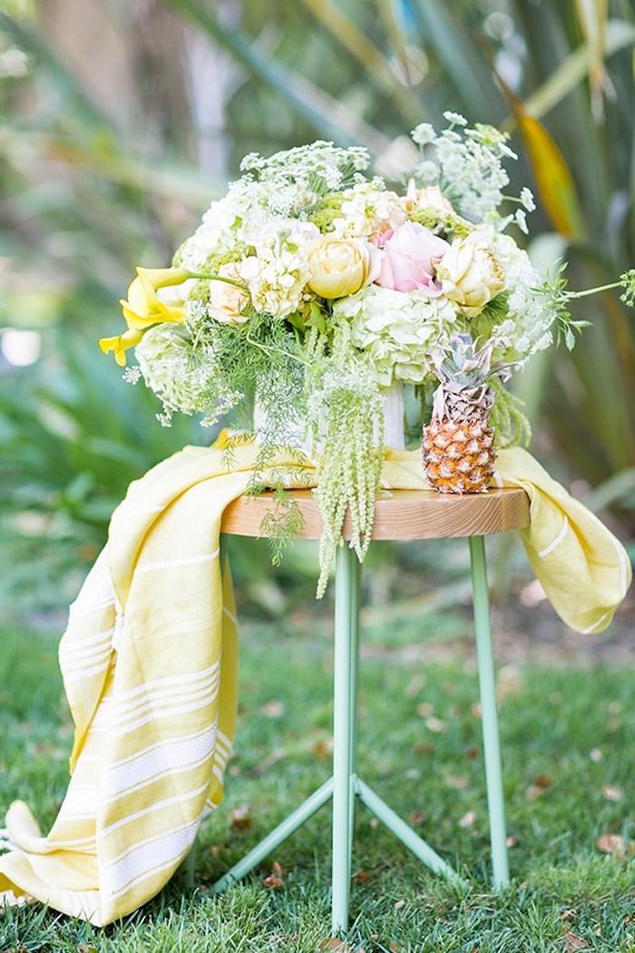 Beautiful flowers & decor from a Pineapple Garden Party via Kara's Party Ideas | KarasPartyIdeas.com (10)