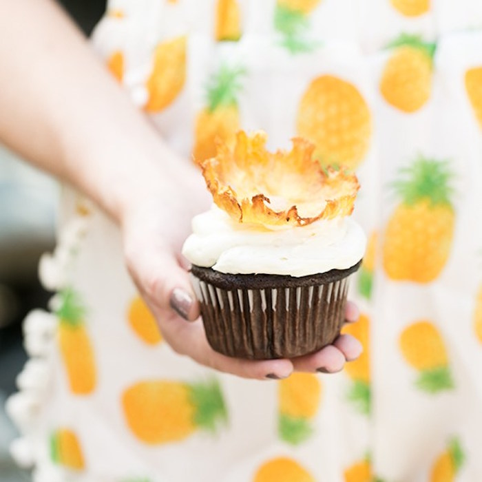 Chocolate cupcake with pineapple flower from a Pineapple Garden Party via Kara's Party Ideas | KarasPartyIdeas.com (6)