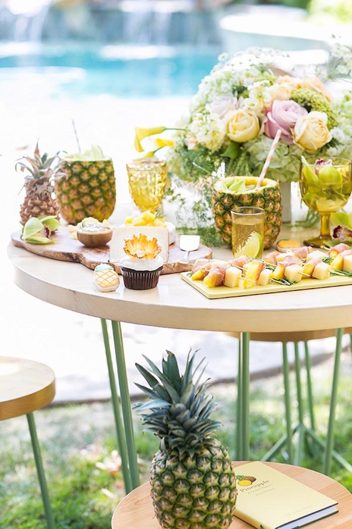 Party table from a Pineapple Garden Party via Kara's Party Ideas | KarasPartyIdeas.com (4)
