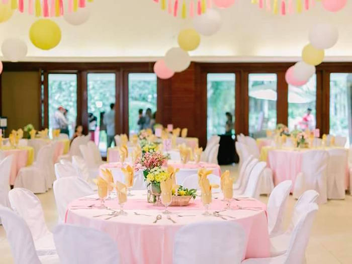 Guest tables + partyscape from a Pink Lemonade Birthday Party via Kara's Party Ideas | KarasPartyIdeas.com (29)