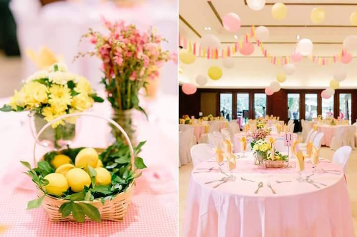 Guest table detail from a Pink Lemonade Birthday Party via Kara's Party Ideas | KarasPartyIdeas.com (25)