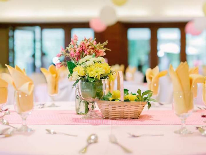 Guest table from a Pink Lemonade Birthday Party via Kara's Party Ideas | KarasPartyIdeas.com (22)