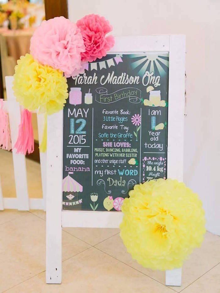 Chalkboard easel fact board from a Pink Lemonade Birthday Party via Kara's Party Ideas | KarasPartyIdeas.com (21)