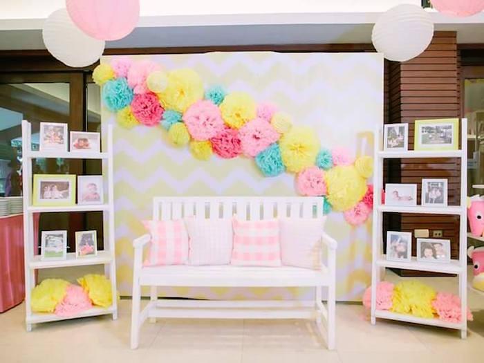 Lounge area + photo backdrop from a Pink Lemonade Birthday Party via Kara's Party Ideas   KarasPartyIdeas.com (20)