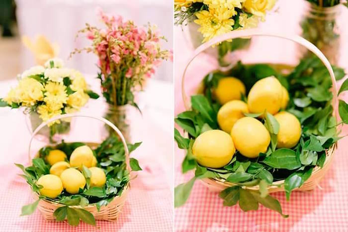 Basket of lemons table centerpiece from a Pink Lemonade Birthday Party via Kara's Party Ideas | KarasPartyIdeas.com (19)