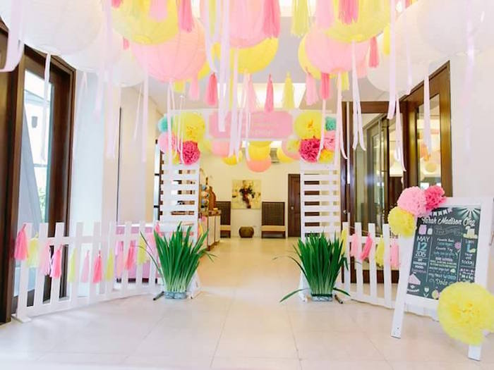 Darling party entrance at a Pink Lemonade Birthday Party via Kara's Party Ideas   KarasPartyIdeas.com (17)