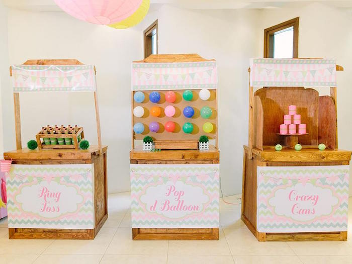 Game stands at a Pink Lemonade Birthday Party via Kara's Party Ideas | KarasPartyIdeas.com (9)
