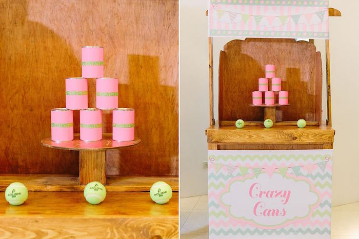 Can throw game from a Pink Lemonade Birthday Party via Kara's Party Ideas | KarasPartyIdeas.com (8)