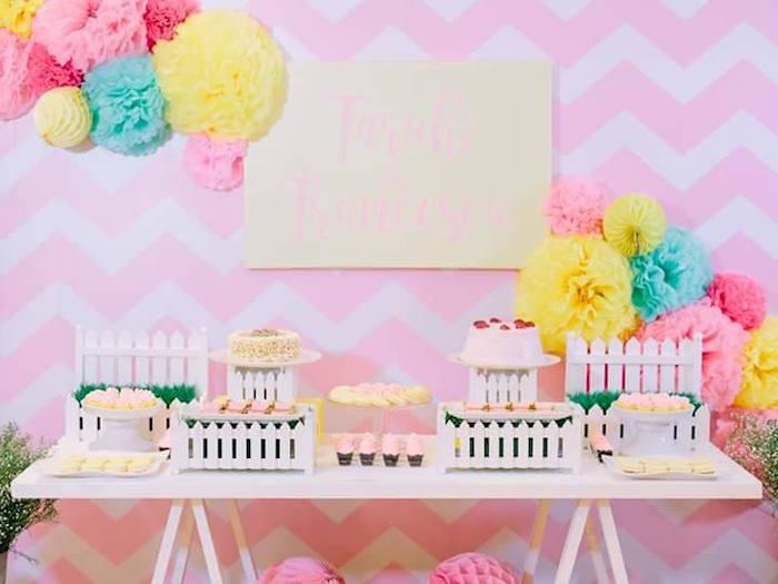 Sweet table from a Pink Lemonade Birthday Party via Kara's Party Ideas   KarasPartyIdeas.com (36)