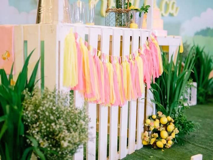 Tassel garland on a lemonade stand from a Pink Lemonade Birthday Party via Kara's Party Ideas | KarasPartyIdeas.com (31)