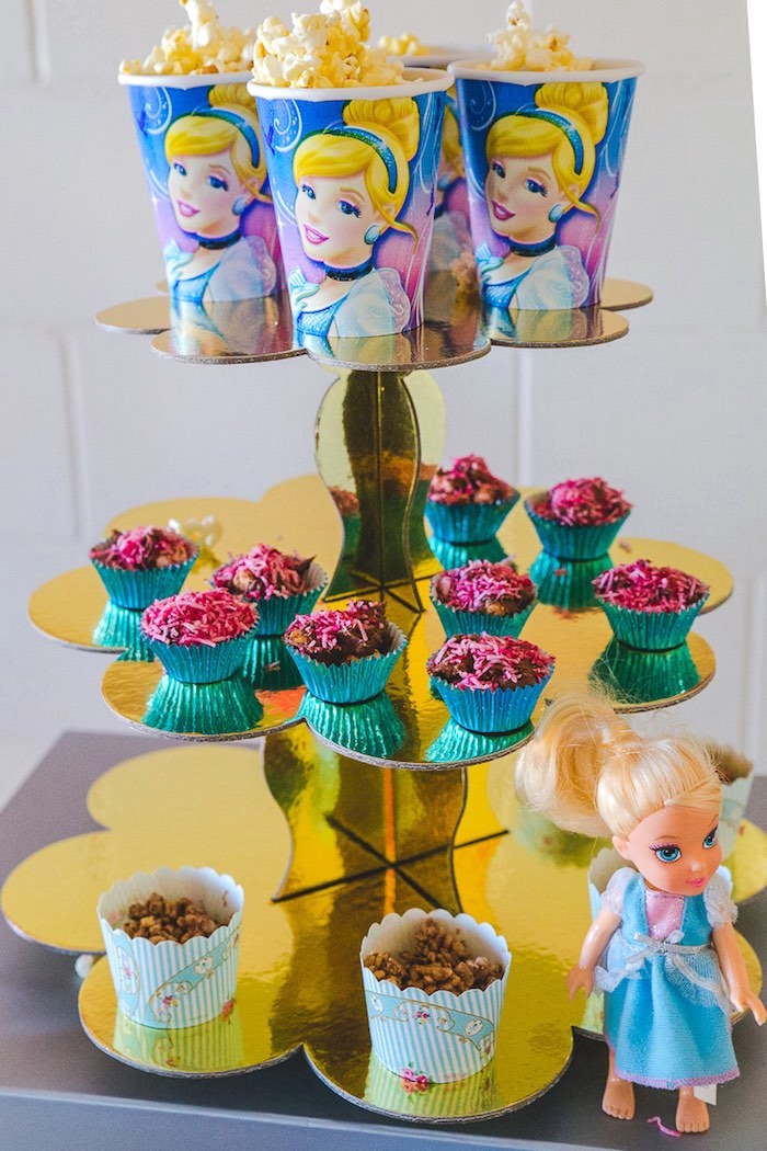Popcorn + bite sized rocky road and chocolate crackles served in cupcake cases from a Princess Cinderella Birthday Party on Kara's Party Ideas | KarasPartyIdeas.com (6)