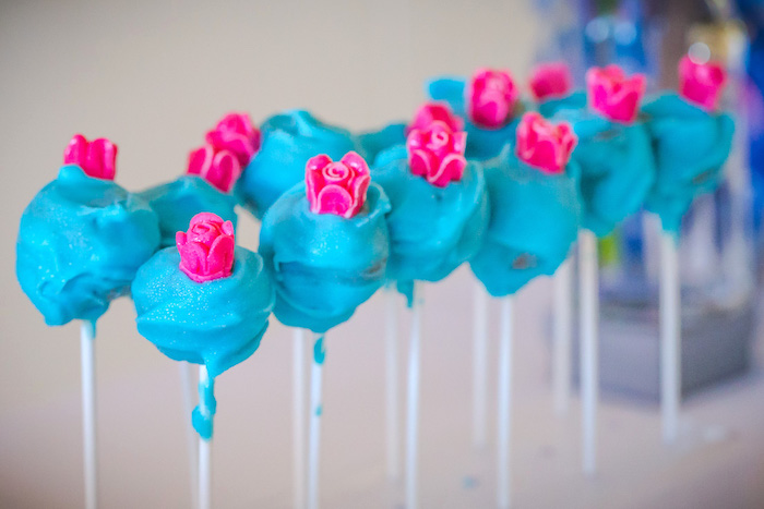 Blue cake pops topped with pink sugar roses from a Princess Cinderella Birthday Party on Kara's Party Ideas | KarasPartyIdeas.com (10)